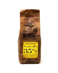 República del Cacao Chocolate de leche Ecuador + Perú 35% fluido bolsa 2.5kg